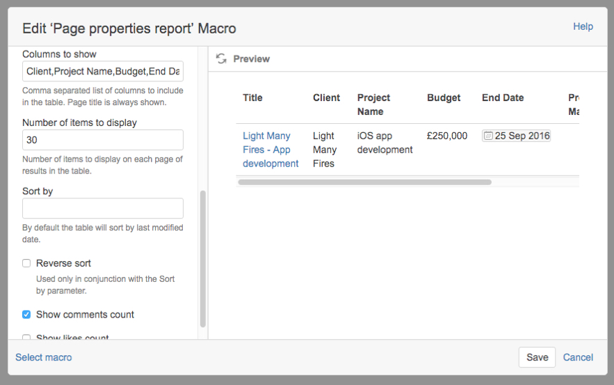 Summaries using the page properties report macro in confluence page properties report macro modal refined options light malvernweather Choice Image
