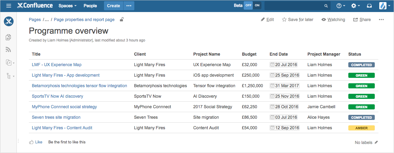 summaries using the page properties report macro in confluence