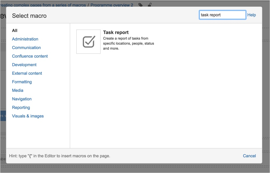 custom-pages-add-task-report-macro